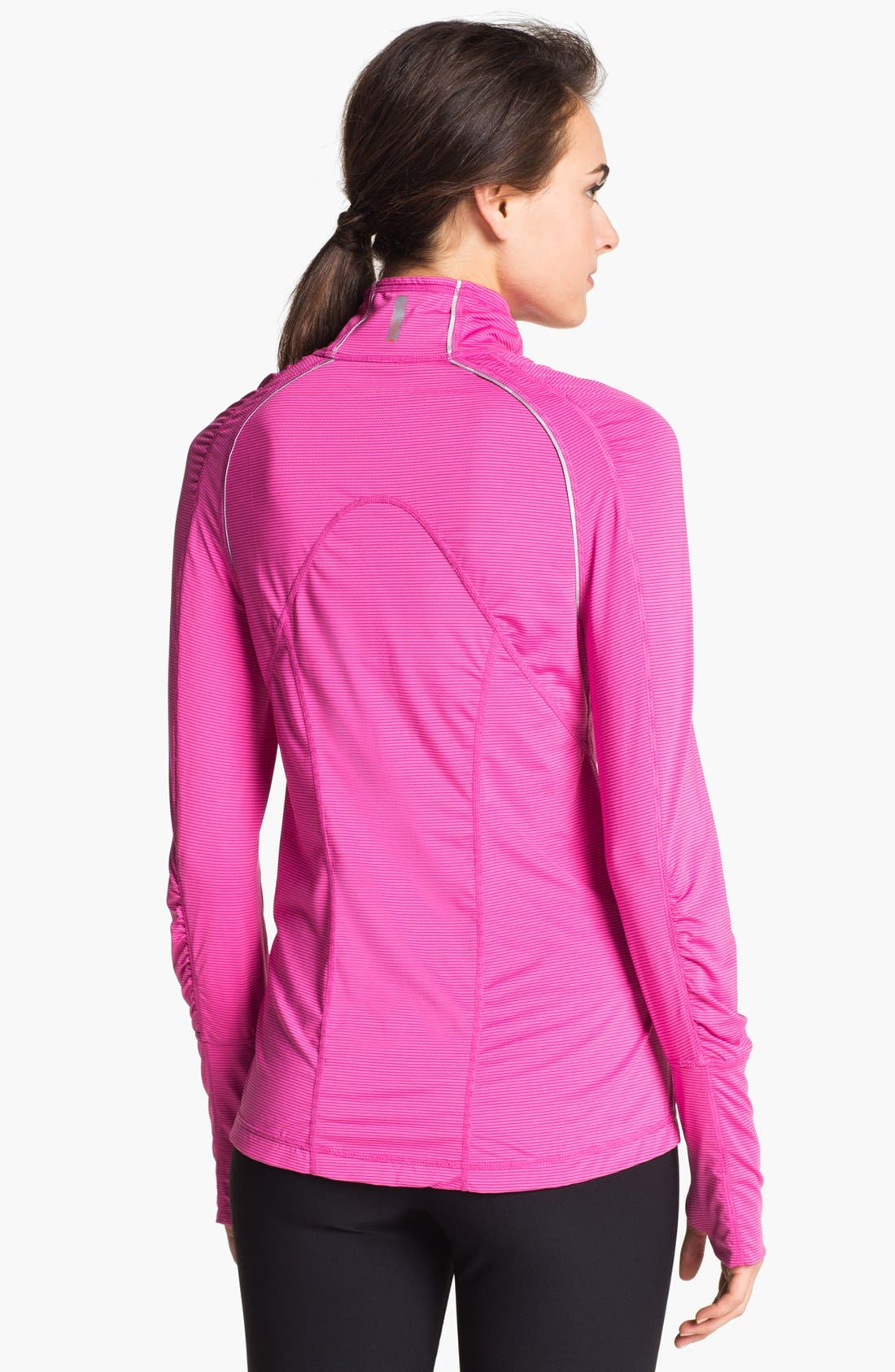 Alternate Image 2  - Zella 'Ruched Runner' Stripe Half Zip Running Top