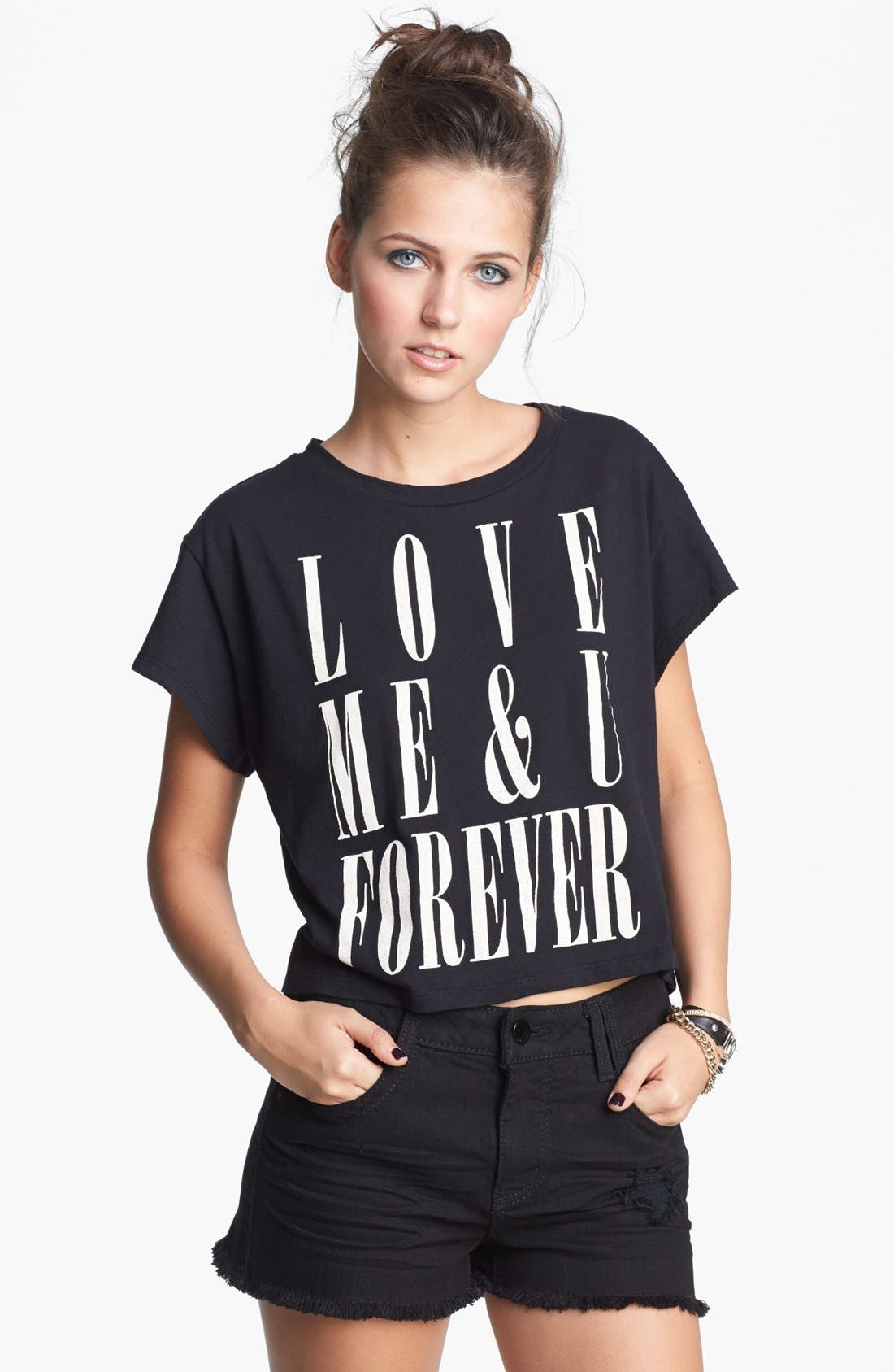 Alternate Image 1 Selected - Lush 'Love Forever' Graphic Crop Tee (Juniors)