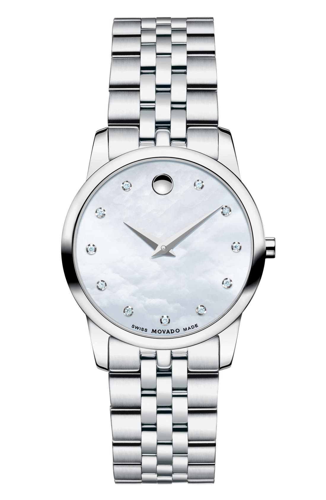 Alternate Image 1 Selected - Movado 'Museum' Diamond Dial Bracelet Watch, 28mm