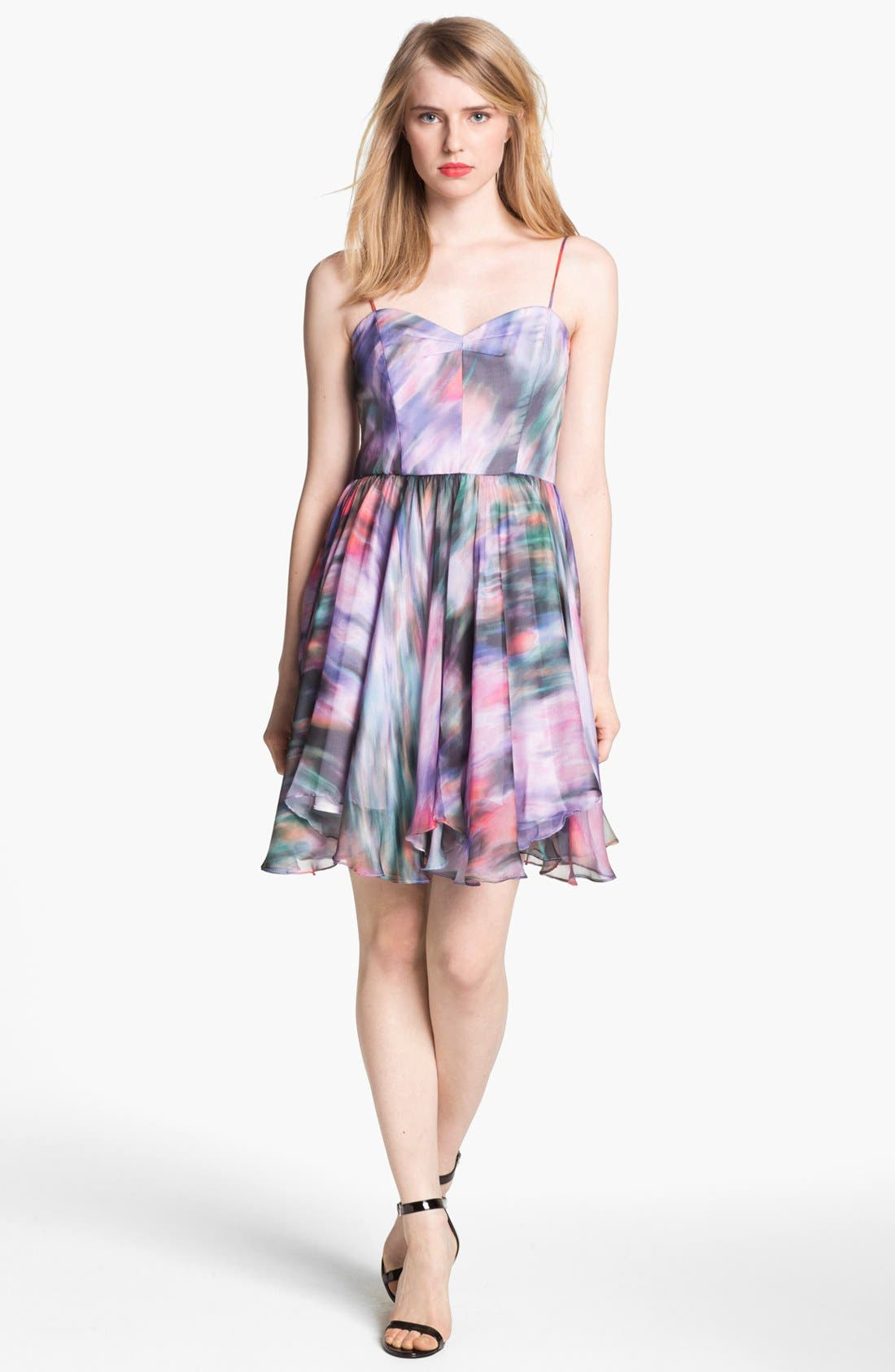 Alternate Image 1 Selected - Milly 'Gemma' Silk Fit & Flare Dress