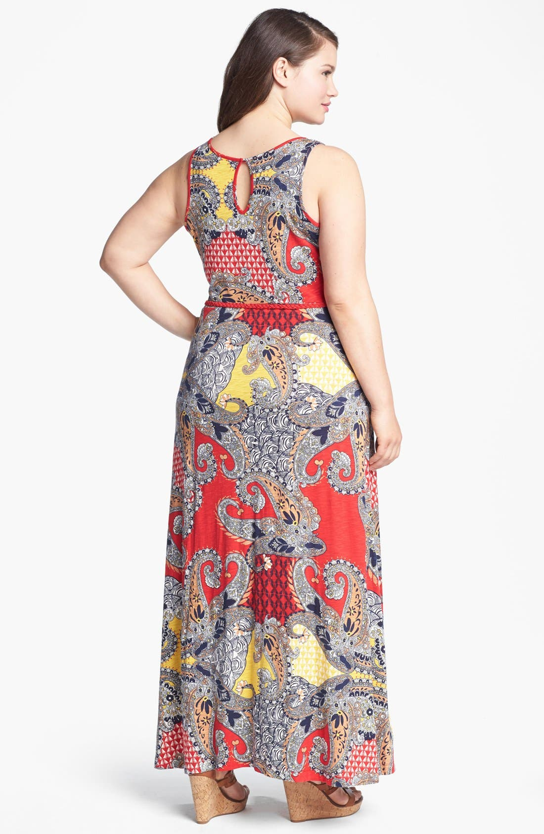 Alternate Image 2  - Lucky Brand 'Marrakesh' Paisley Print Maxi Dress (Plus Size)