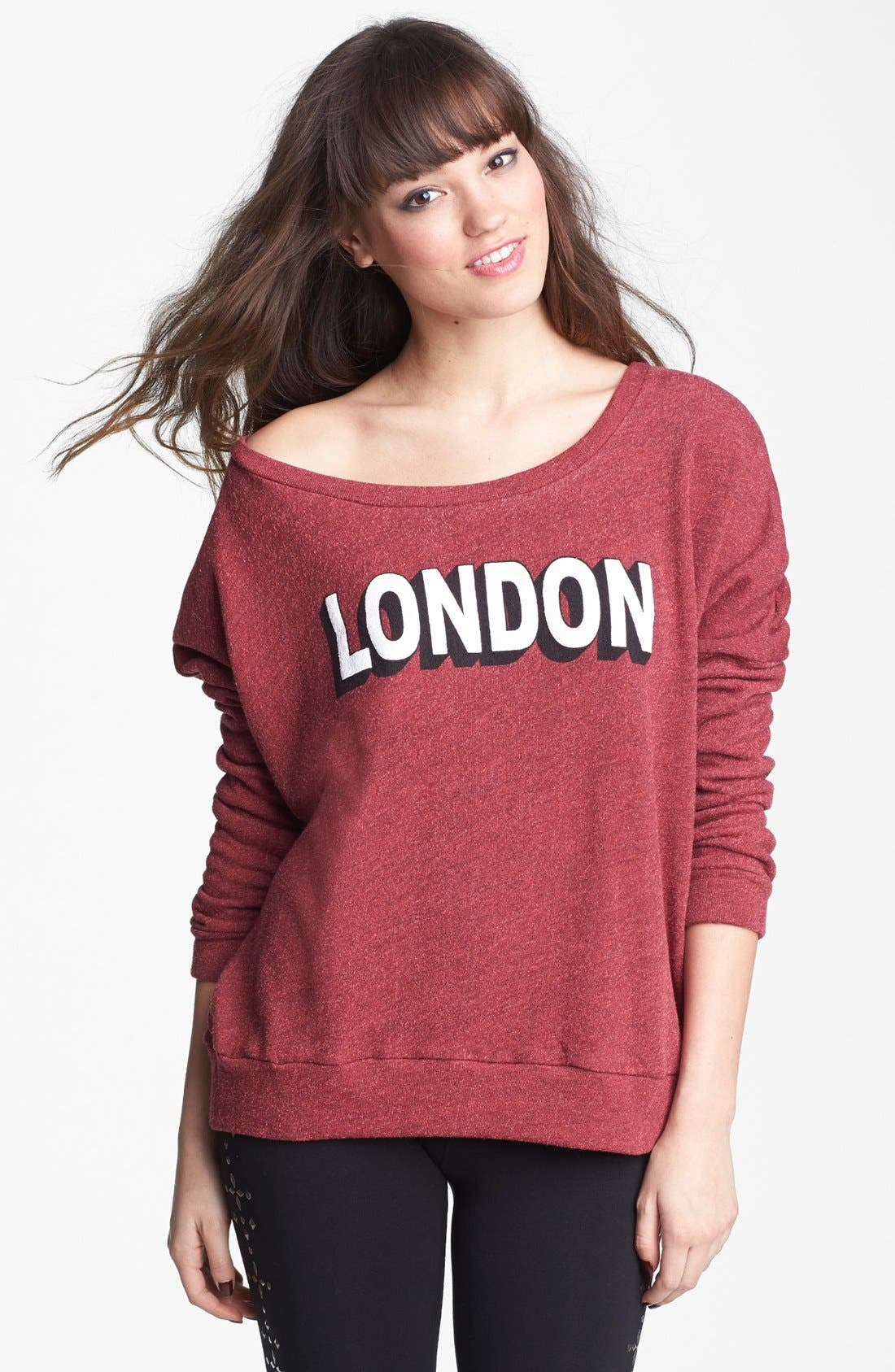 Alternate Image 1 Selected - Project Social T 'London' Crop Sweatshirt (Juniors) (Online Only)