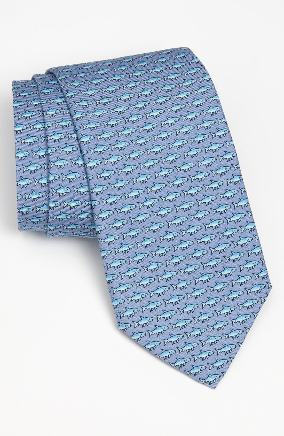 Bonefish Silk Tie,                         Main,                         color, Blue
