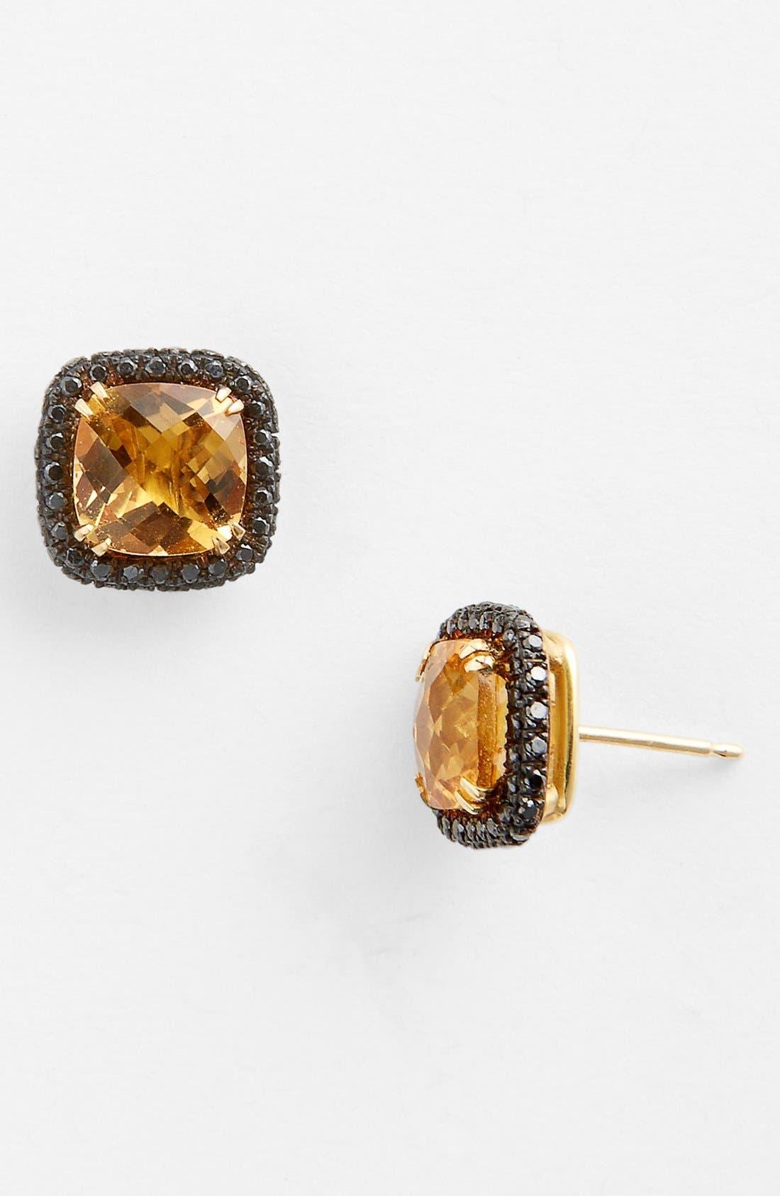 Main Image - Bony Levy 'Iris' Stone & Diamond Stud Earrings (Nordstrom Exclusive)
