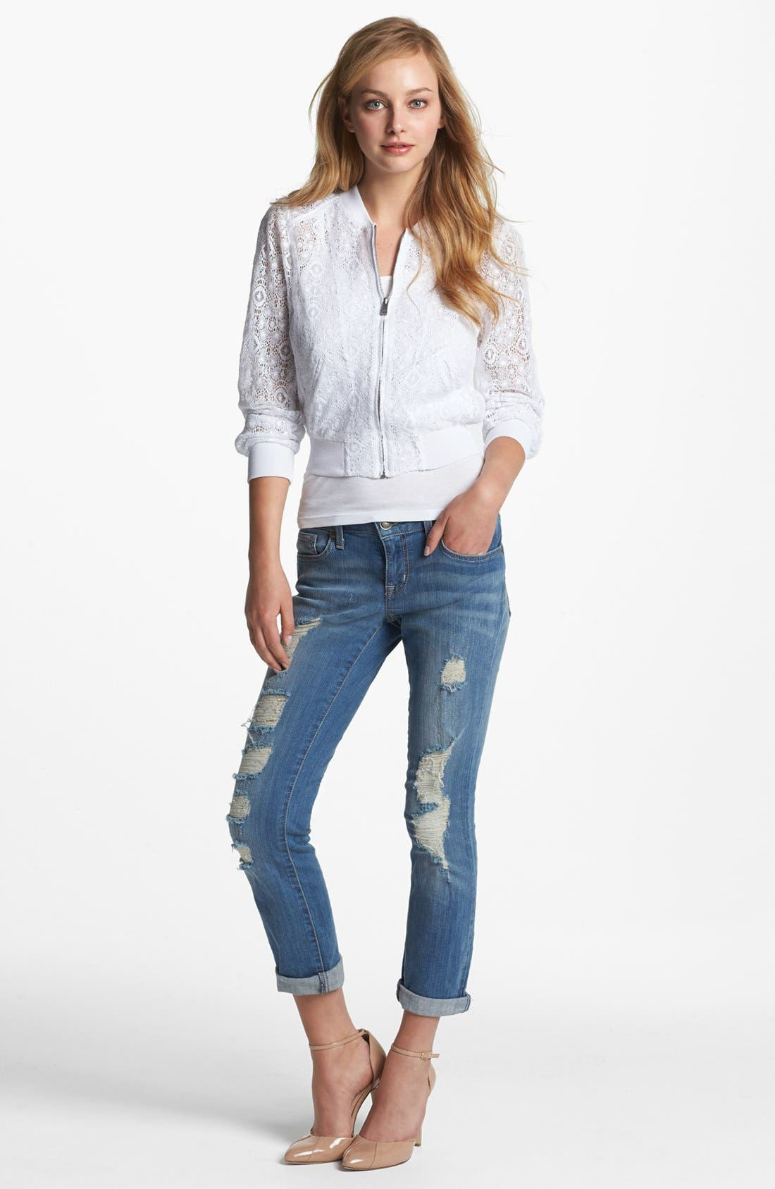 Main Image - Jessica Simpson 'Forever' Deconstructed Crop Jeans (Tonka Blue)