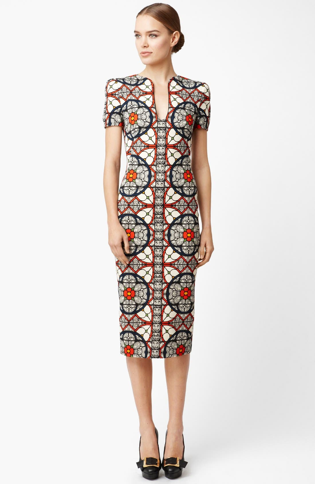 Alternate Image 1 Selected - Alexander McQueen Stained Glass Print Wool Crepe Dress