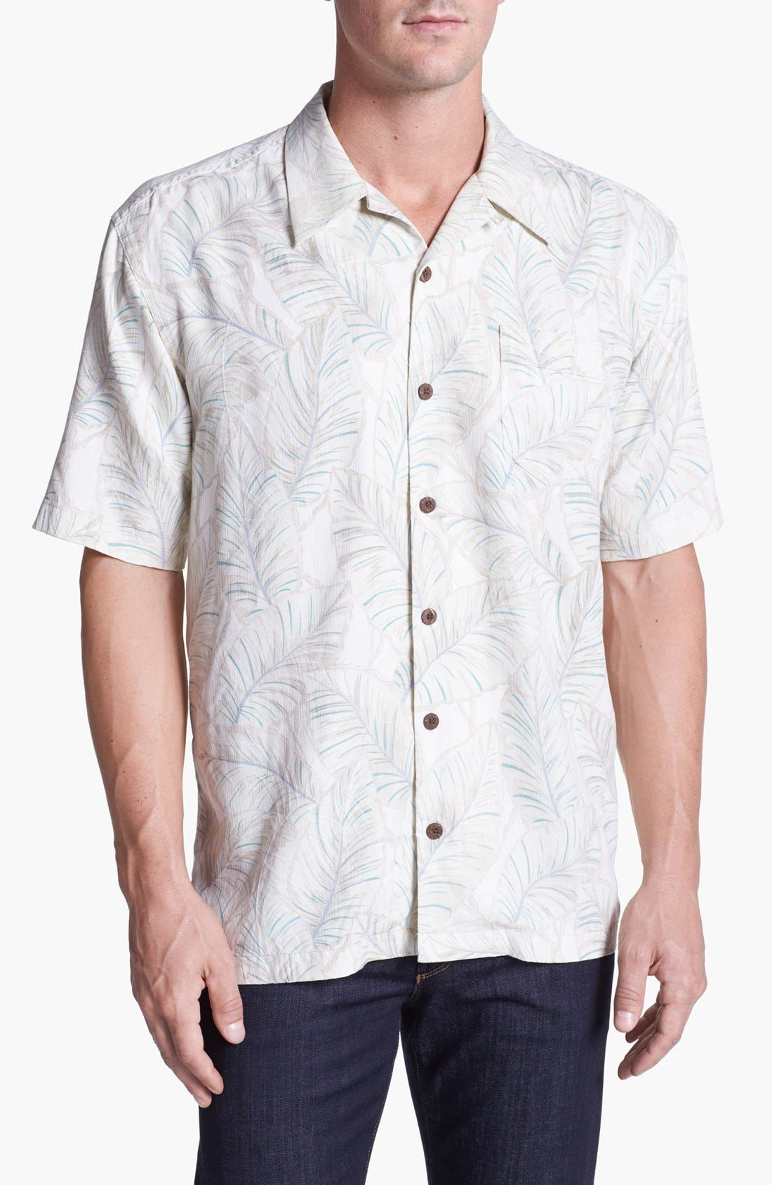 Alternate Image 1 Selected - Tommy Bahama 'Leaves of Arabia' Silk Campshirt