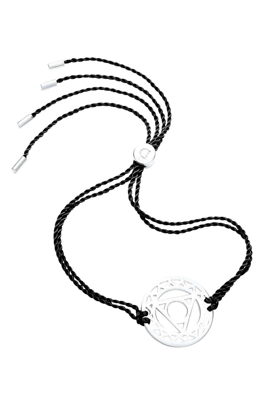 'Throat Chakra' Cord Bracelet,                             Main thumbnail 1, color,                             925 Sterling Silver/Black