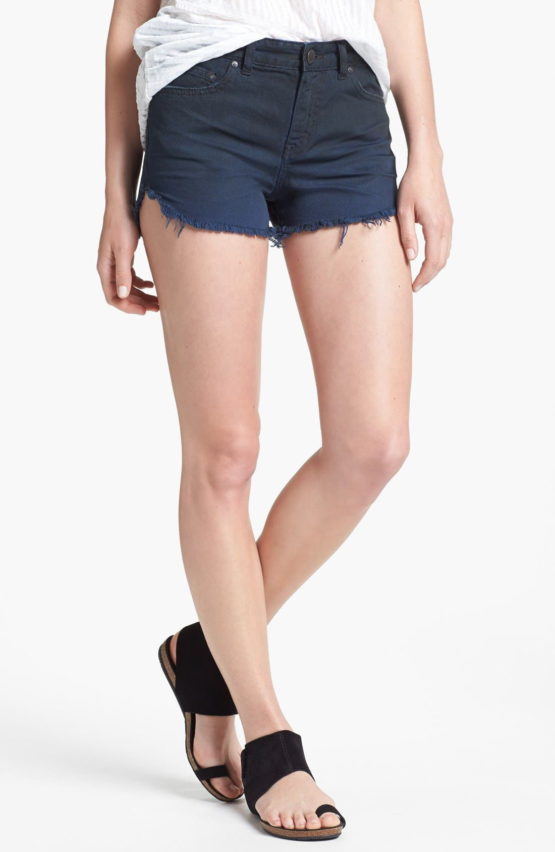 Main Image - Free People 'Dolphin' Cutoff Denim Shorts (Blue/Black)