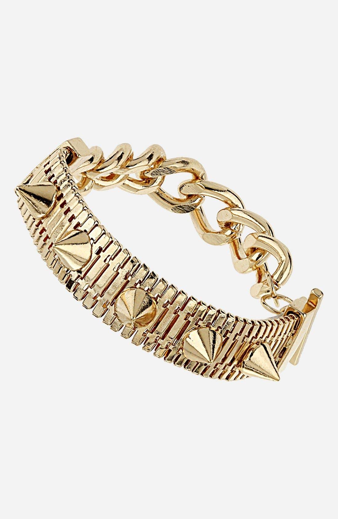 Main Image - Topshop 'Stud & Chain' Bracelet