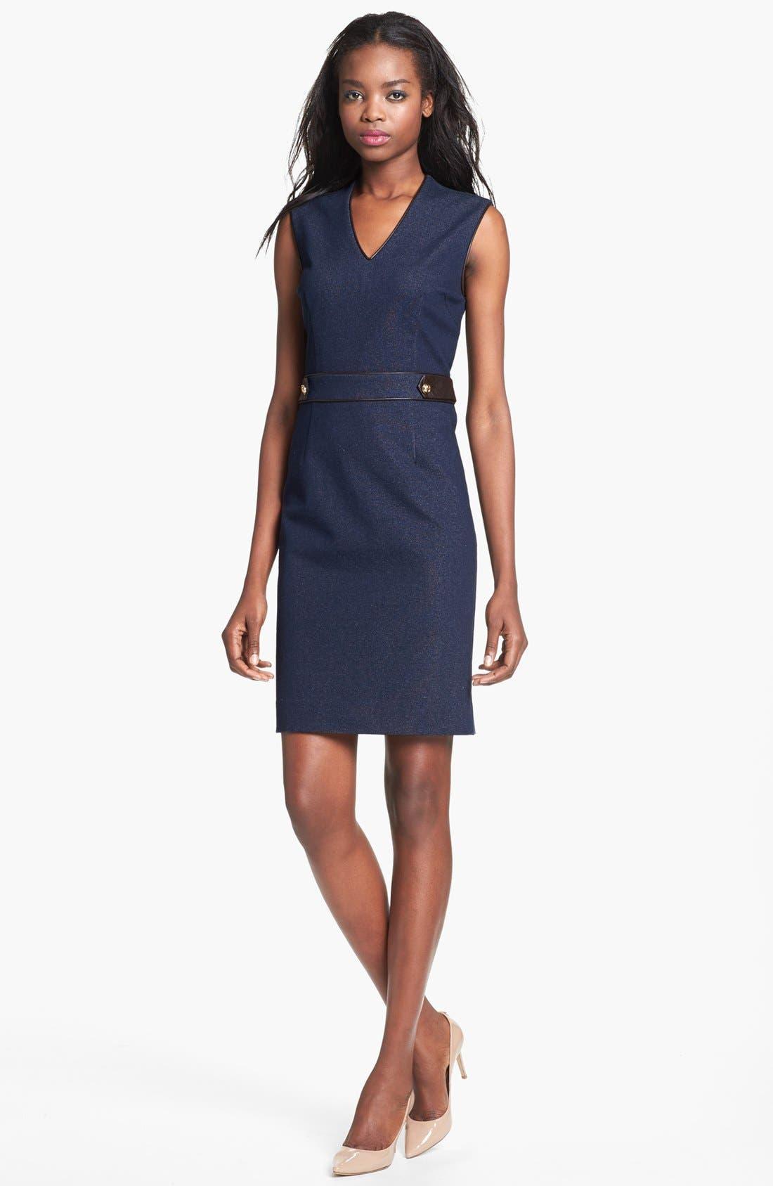 Alternate Image 1 Selected - Tory Burch Stretch Cotton Sheath Dress