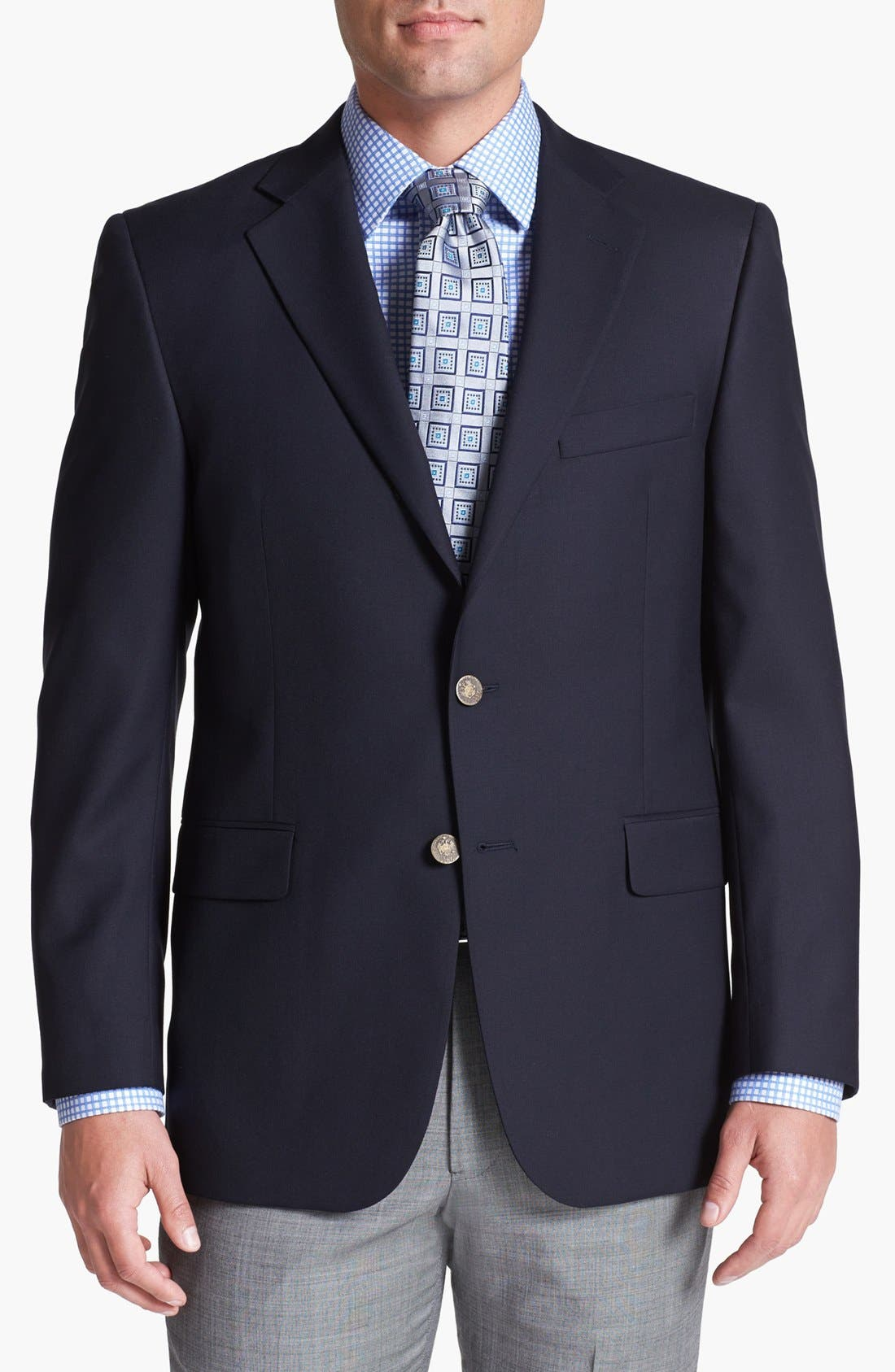 Main Image - Hickey Freeman Navy Wool Blazer