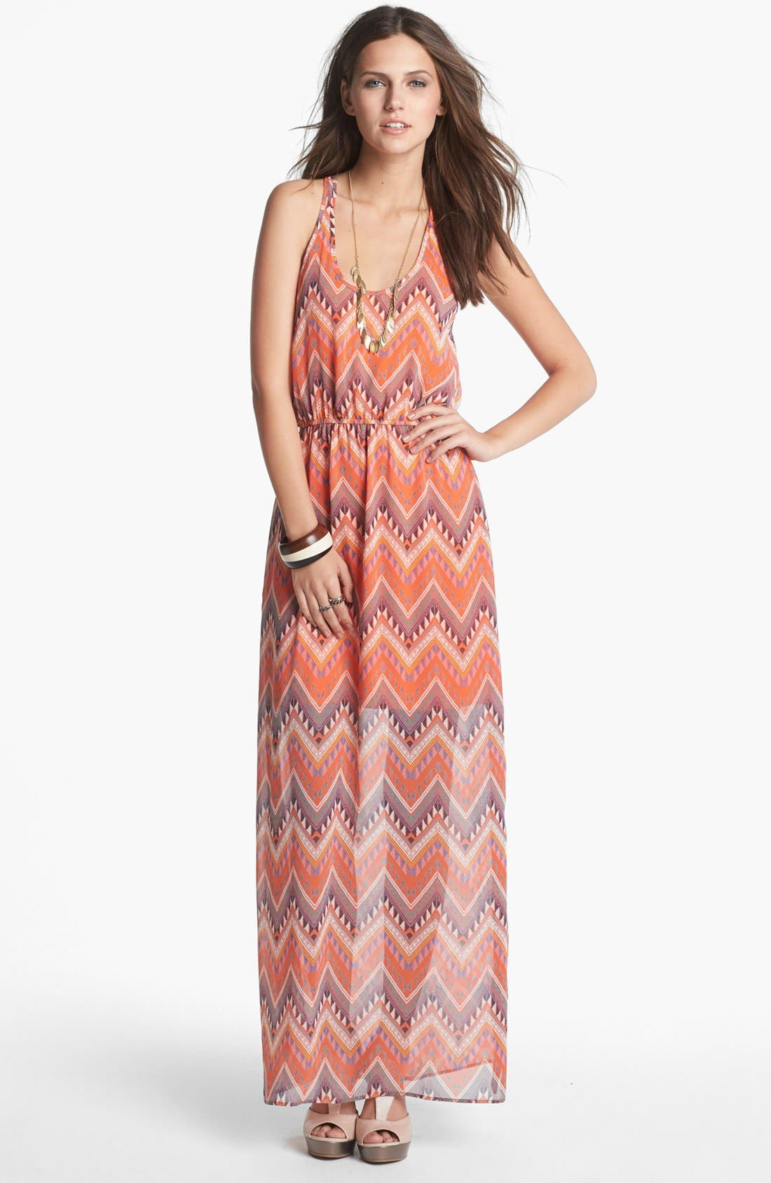 Alternate Image 1 Selected - dee elle Racerback Print Maxi Dress (Juniors)