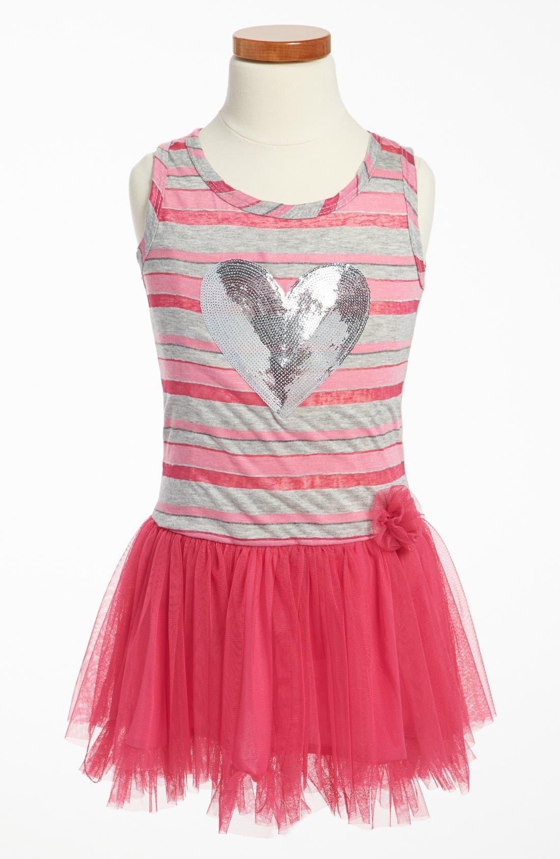 Main Image - Jenna & Jessie Striped Skater Dress (Little Girls)