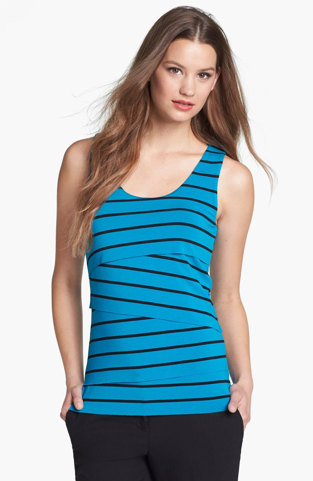 Alternate Image 1 Selected - Vince Camuto Tiered Stripe Tank
