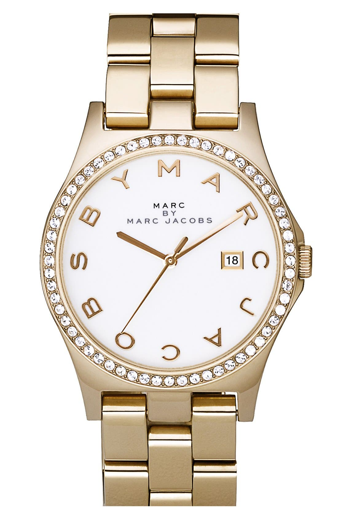 'Henry' Stainless Steel Watch,                         Main,                         color, Gold / Crystal