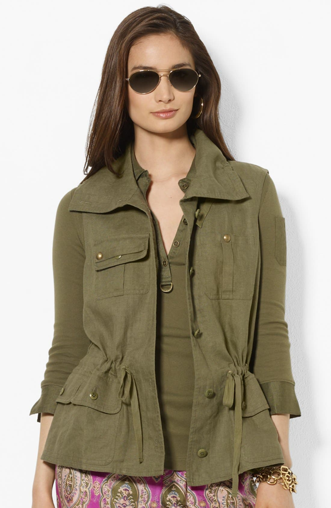 Alternate Image 1 Selected - Lauren Ralph Lauren Drawcord Linen Vest