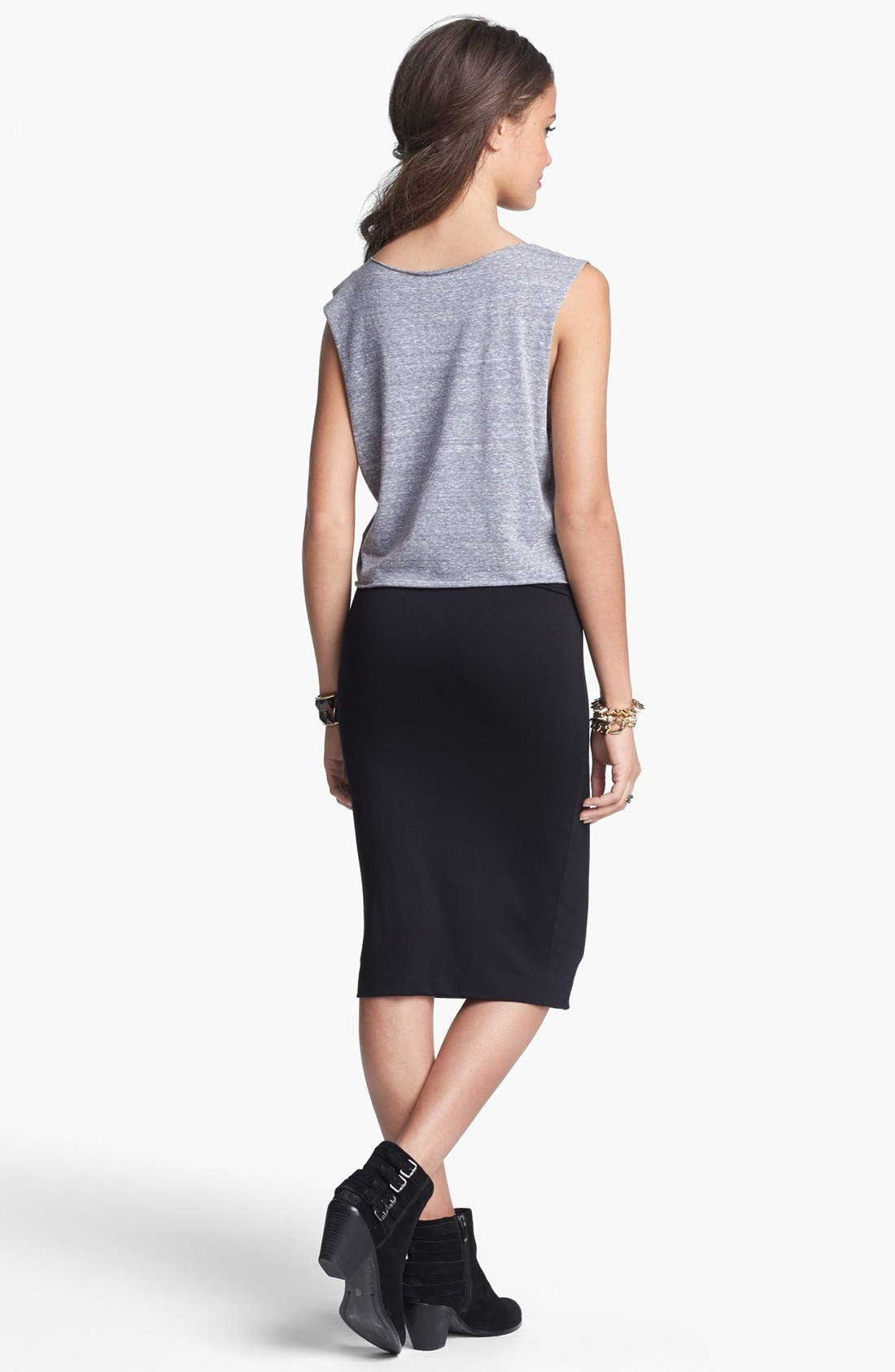 Alternate Image 2  - Frenchi® High Waisted Midi Pencil Skirt (Juniors)