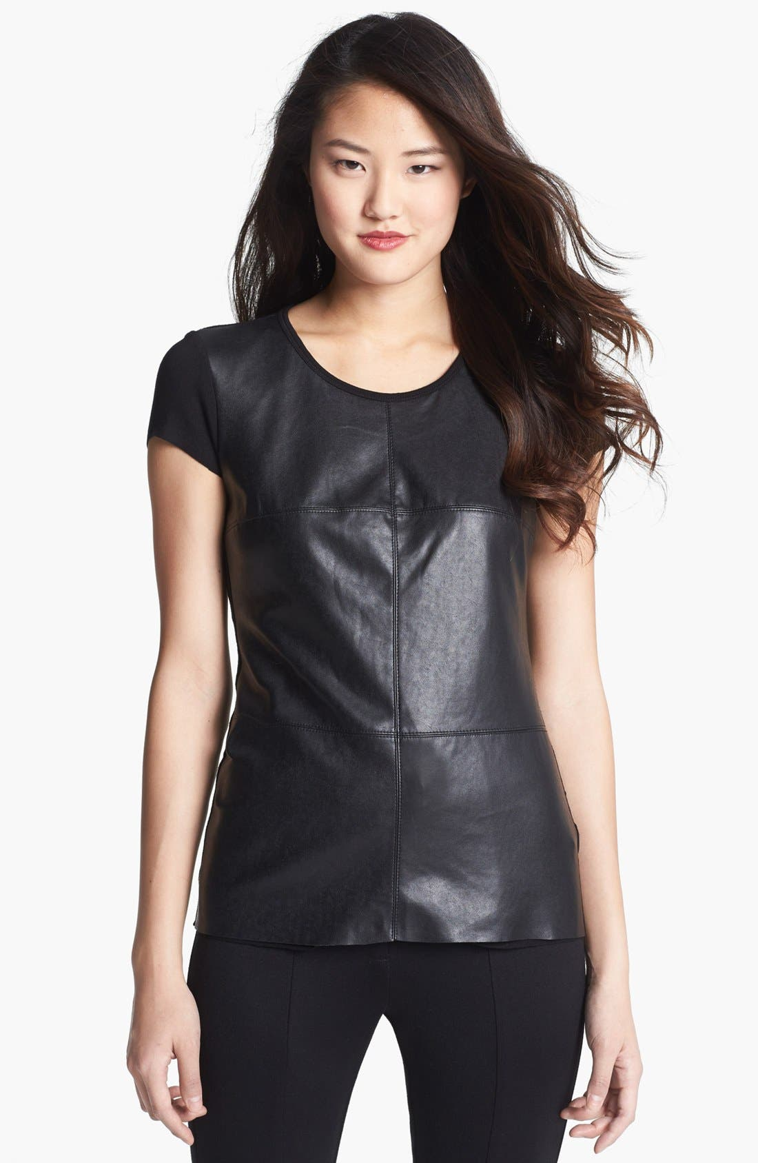 Alternate Image 1 Selected - Vince Camuto Faux Leather Front Tee