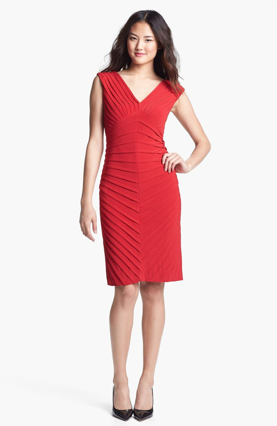 Alternate Image 1 Selected - Adrianna Papell Pintuck Jersey Sheath Dress