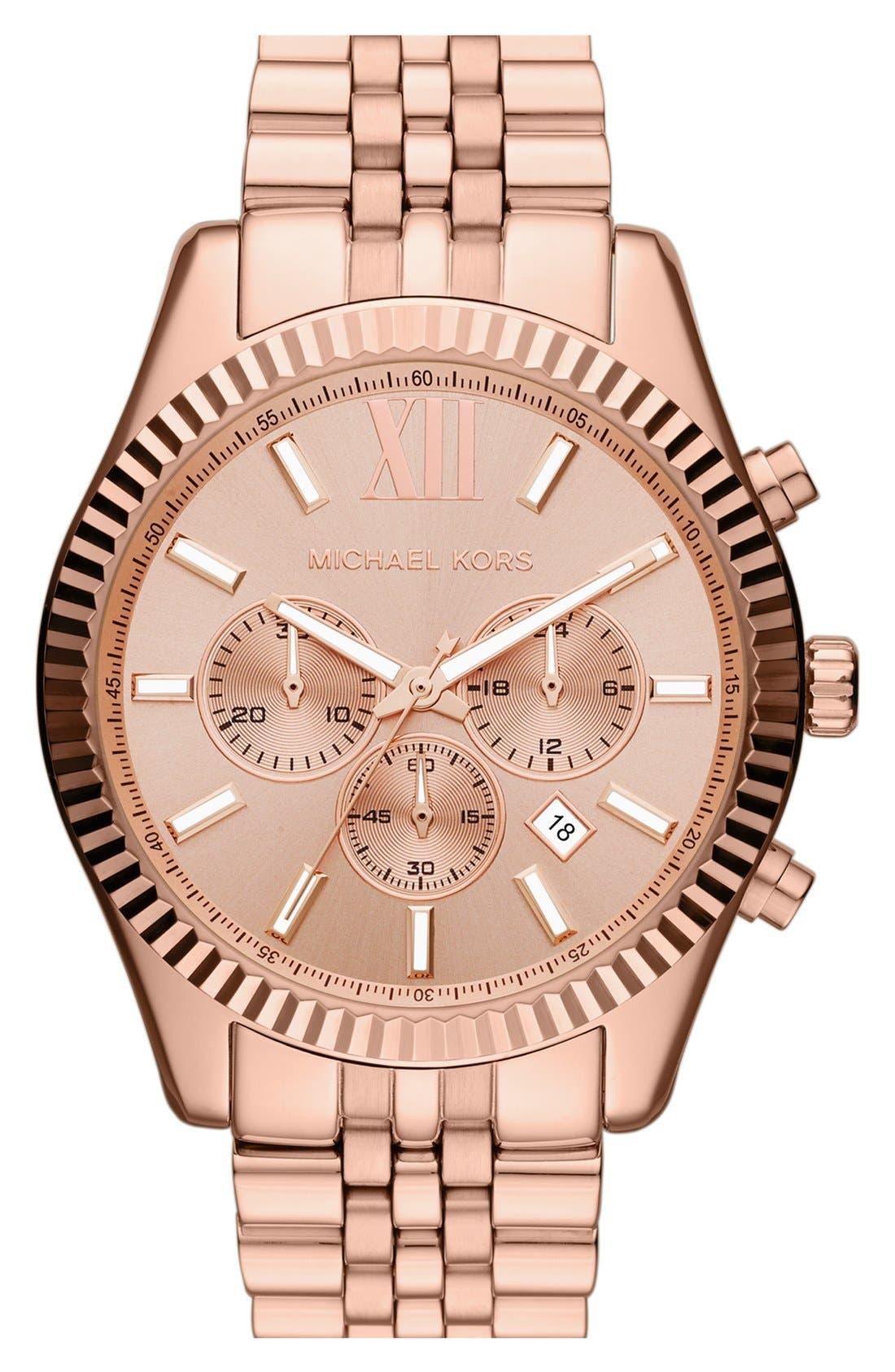 Alternate Image 1 Selected - Michael Kors 'Large Lexington' Chronograph Bracelet Watch, 45mm