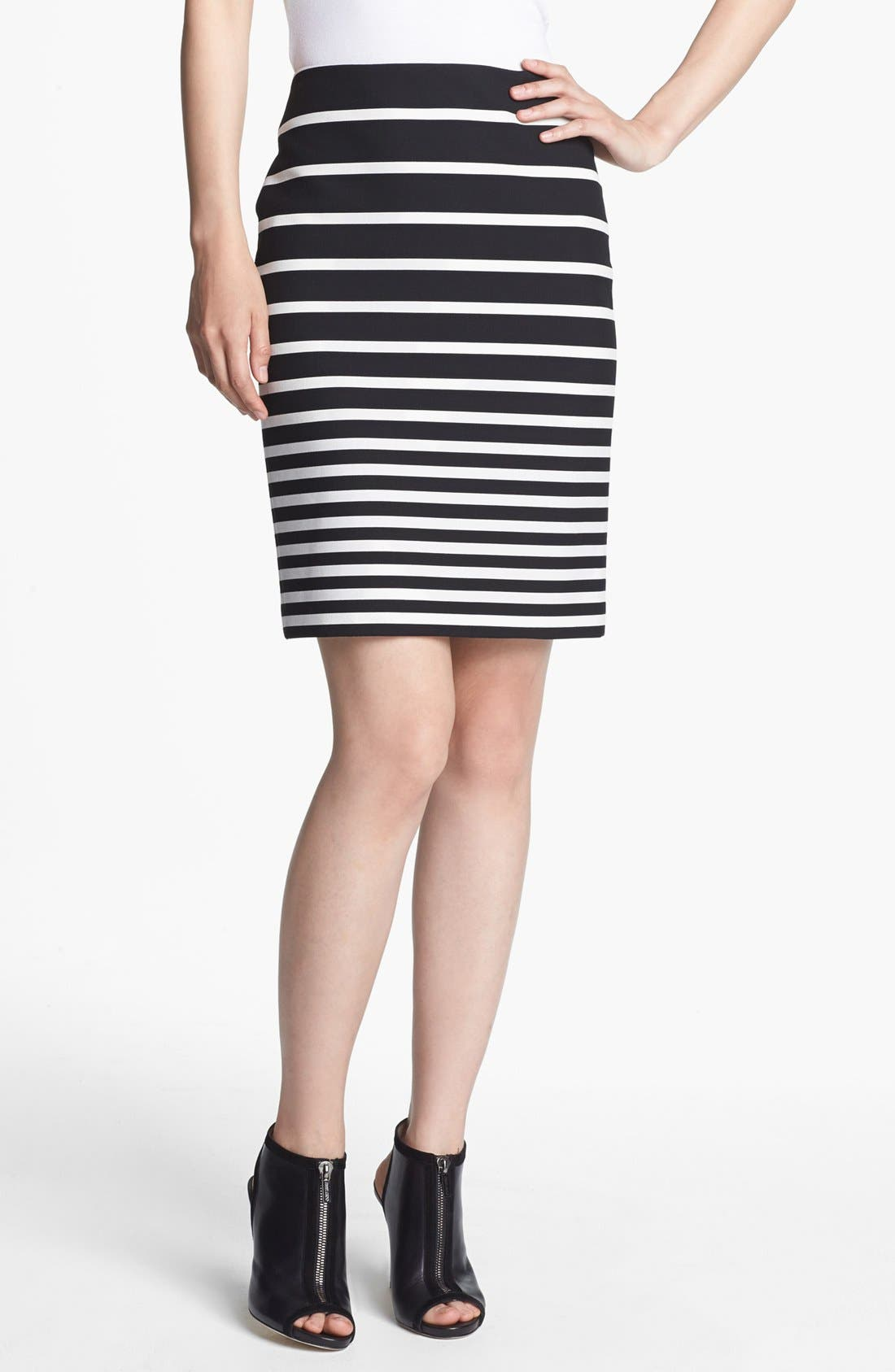 Main Image - Halston Heritage Stripe Knit Pencil Skirt