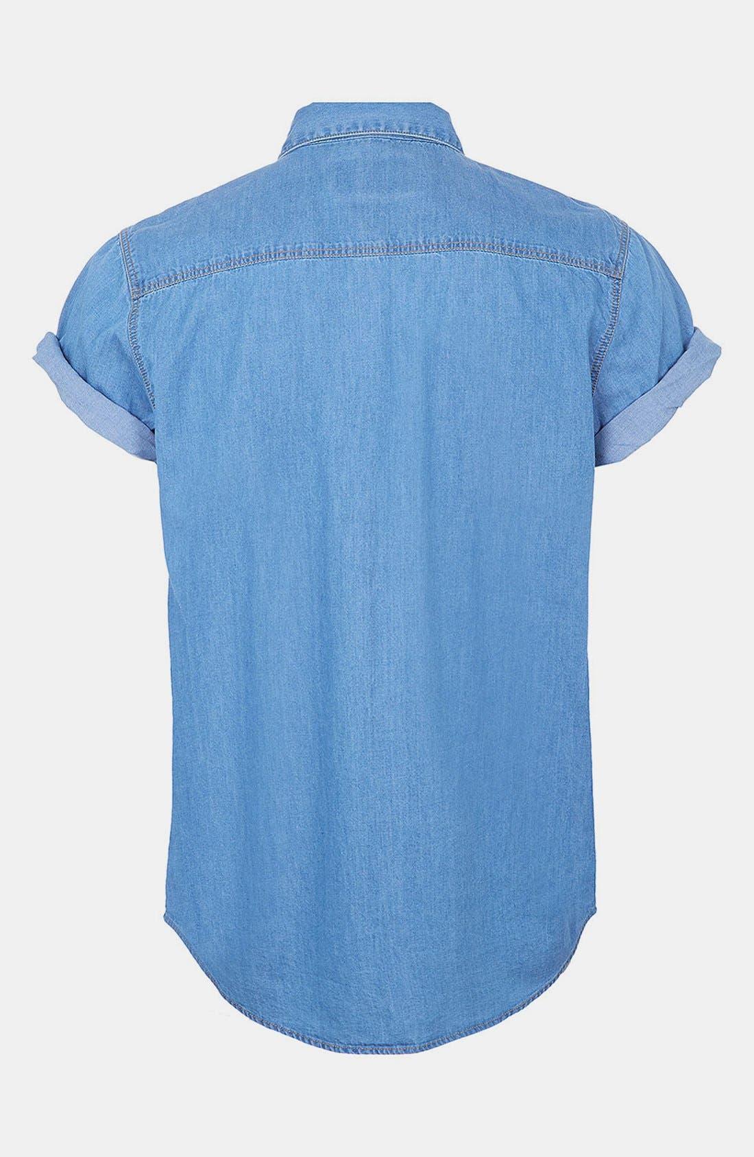 Alternate Image 2  - Topman Short Sleeve Pattern Print Denim Shirt