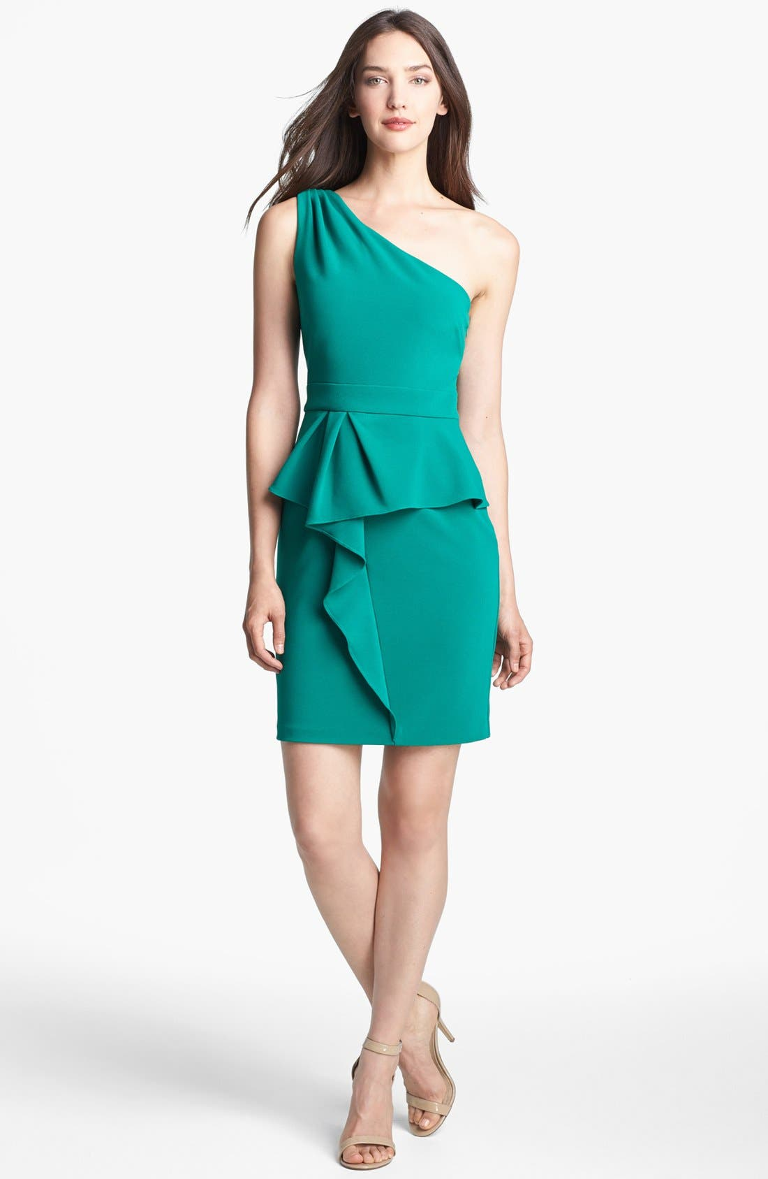 Main Image - Hailey by Adrianna Papell One Shoulder Peplum Dress (Online Only)