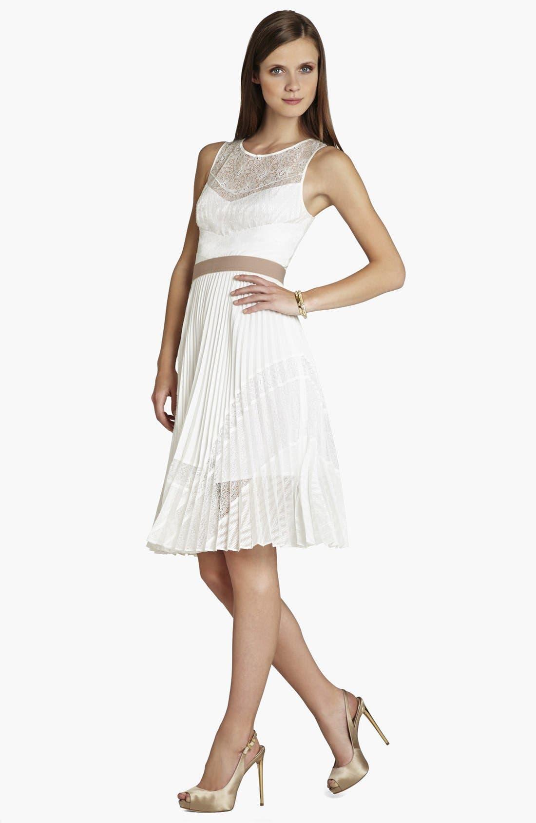 Alternate Image 1 Selected - BCBGMAXAZRIA Pleat Fit & Flare Dress