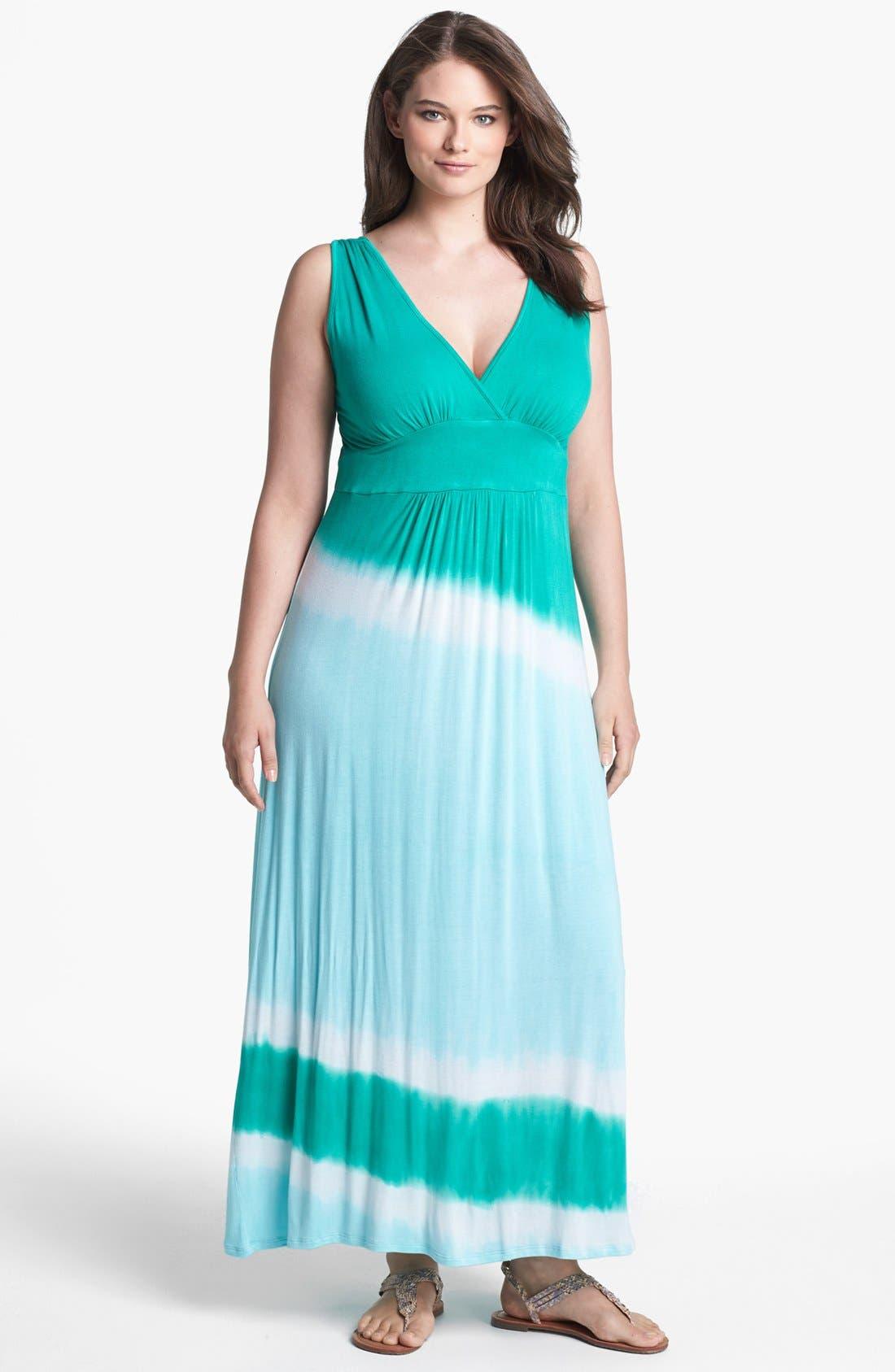 Main Image - Loveappella Tie Dye Jersey Maxi Dress (Plus Size)