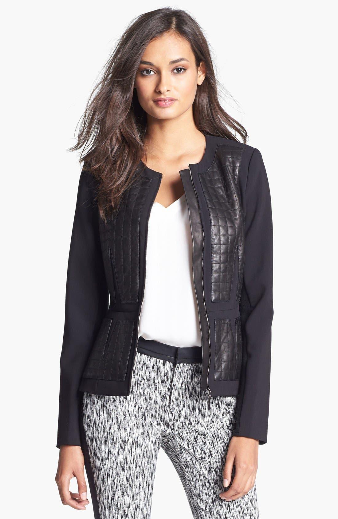 Main Image - Rebecca Taylor Leather Panel Jacket