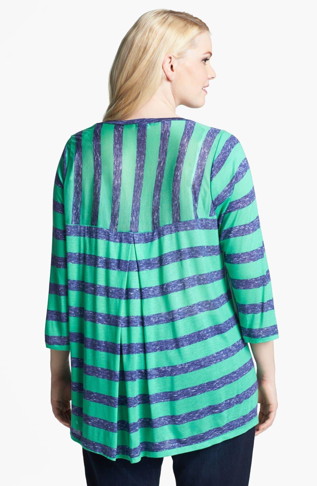 Alternate Image 2  - Splendid Stripe Box Pleat Top (Plus Size)