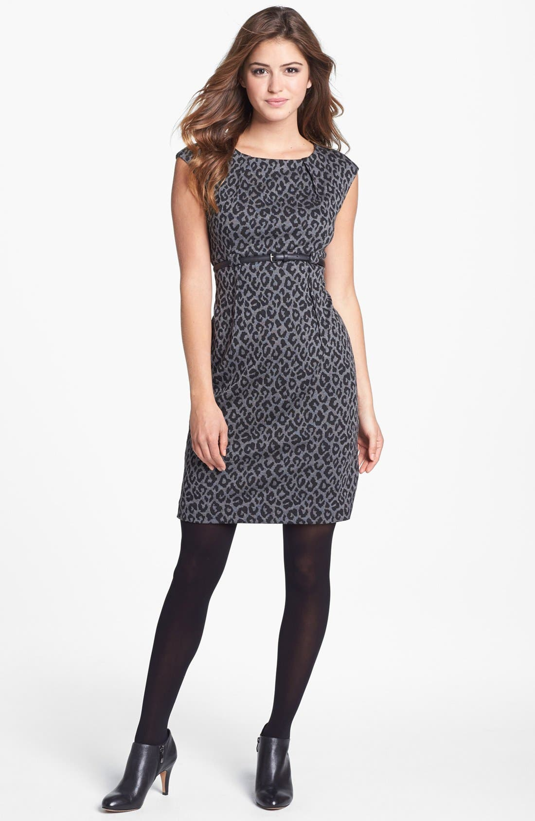 Alternate Image 4  - Calvin Klein Animal Print Cap Sleeve Ponte Sheath Dress