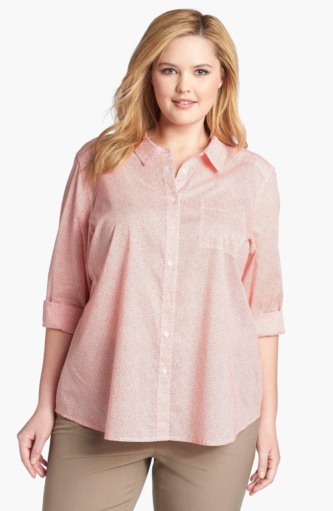Main Image - Halogen® Print Cotton Shirt (Plus Size)