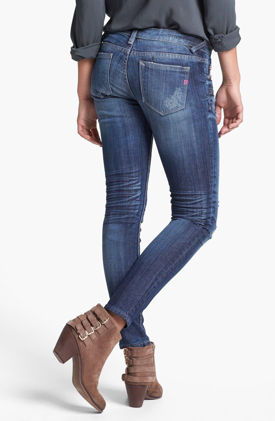 Alternate Image 2  - Vigoss Zip Pocket Destroyed Skinny Jeans (Medium) (Juniors)