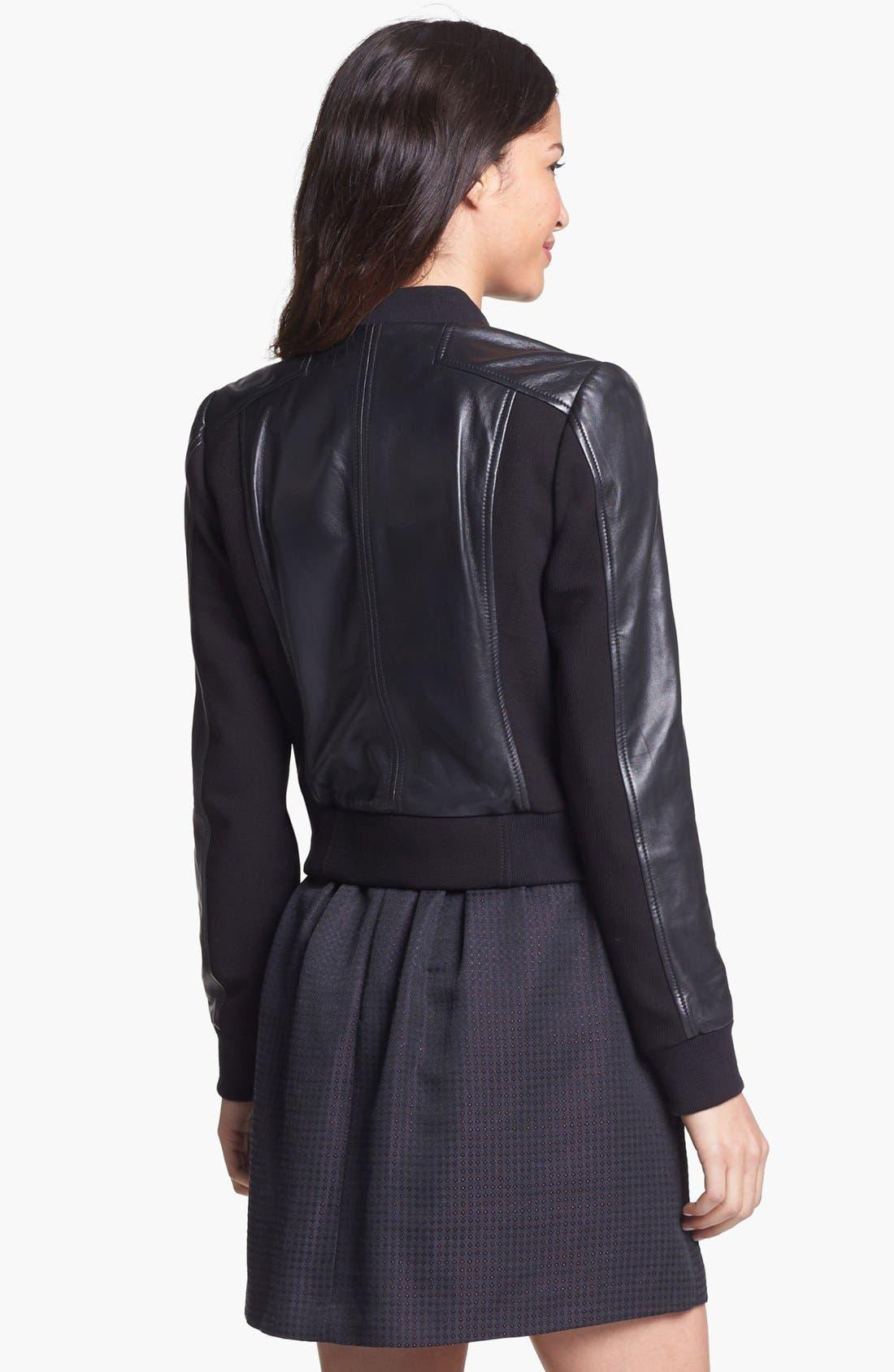 Alternate Image 4  - Halogen® Leather Panel Bomber Jacket