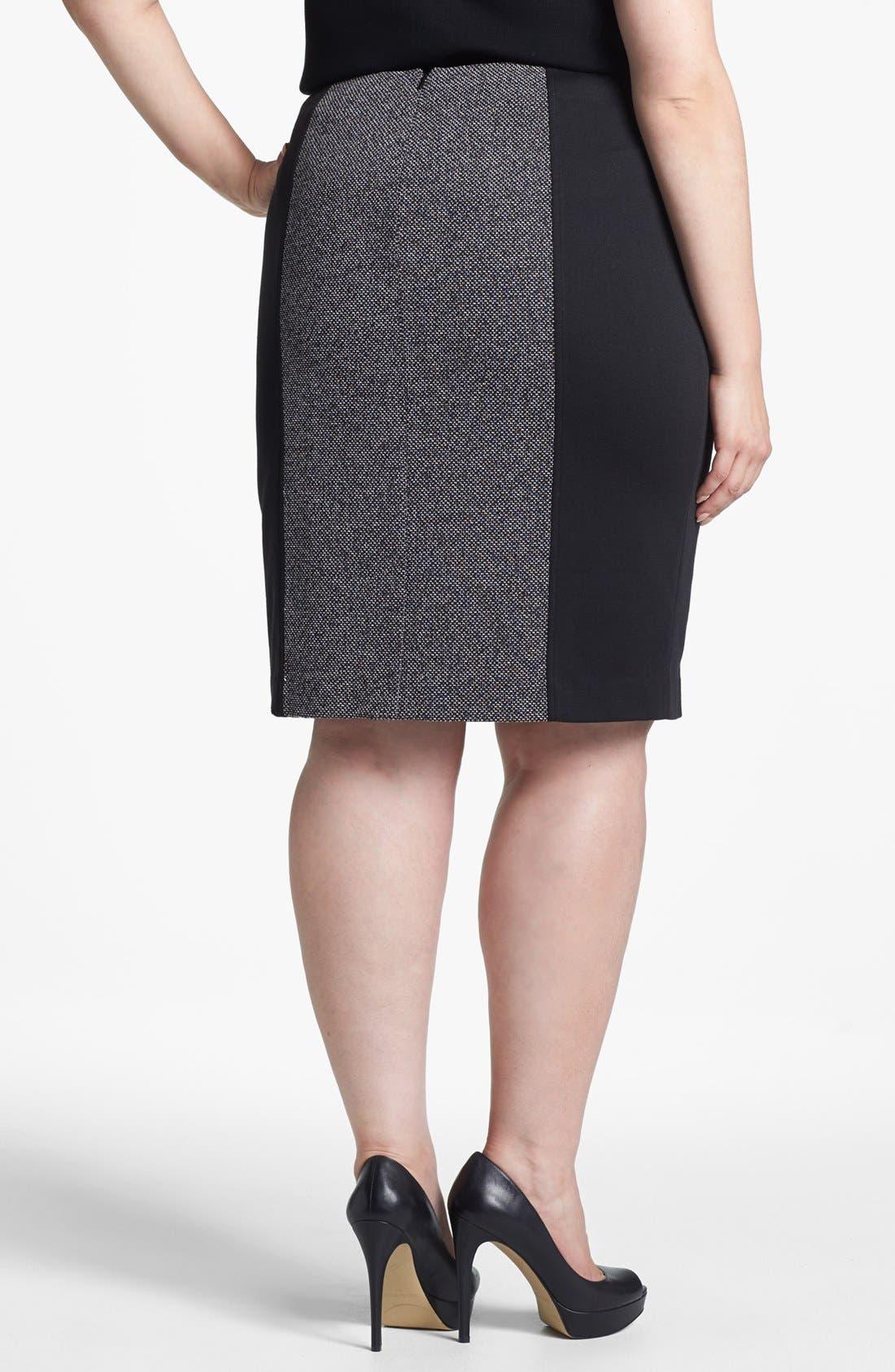 Alternate Image 2  - Sejour Print Ponte Pencil Skirt (Plus Size)