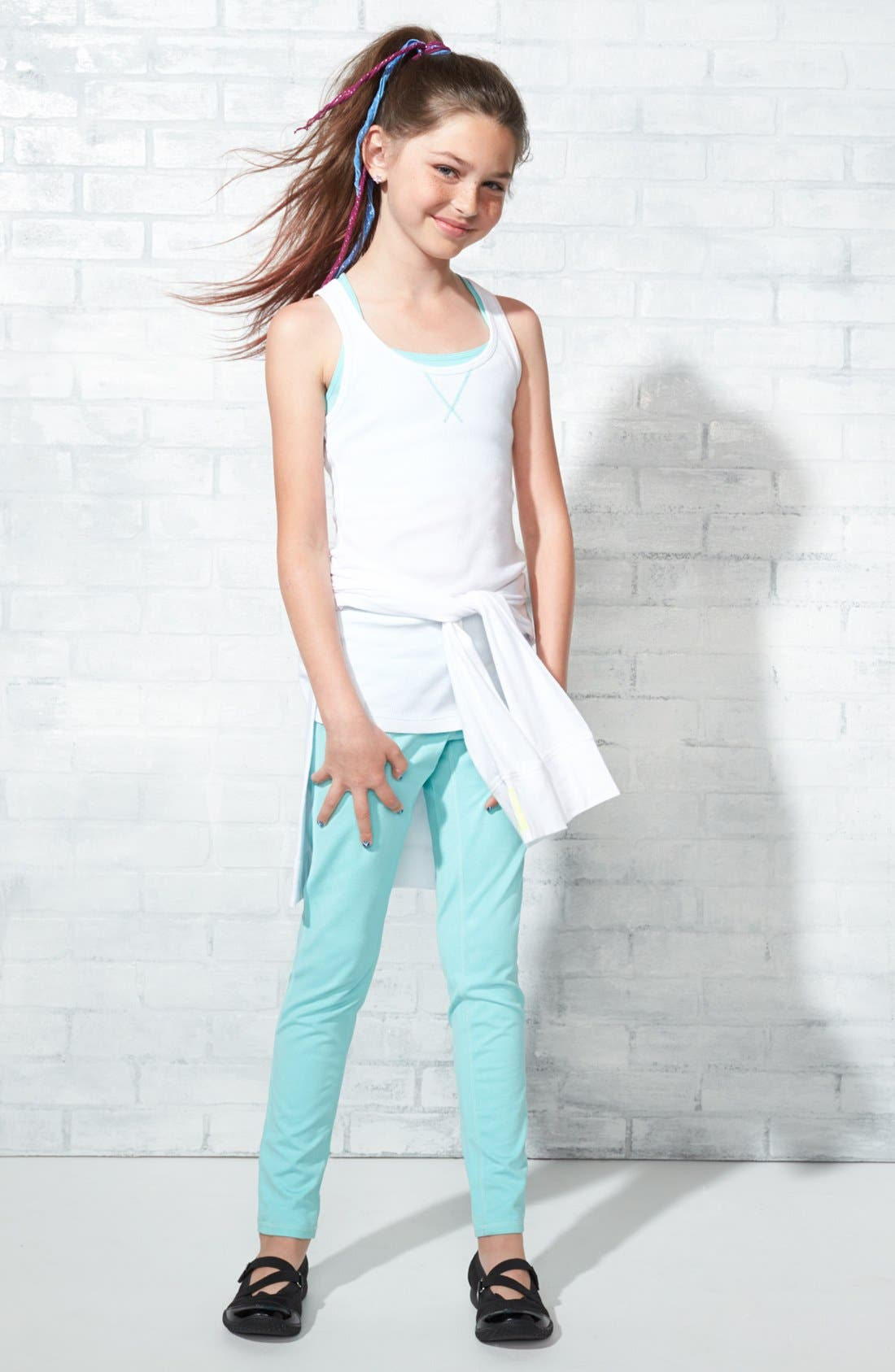 Alternate Image 2  - Zella Girl 'Sporty' Hooded Tunic Tee (Little Girls & Big Girls)