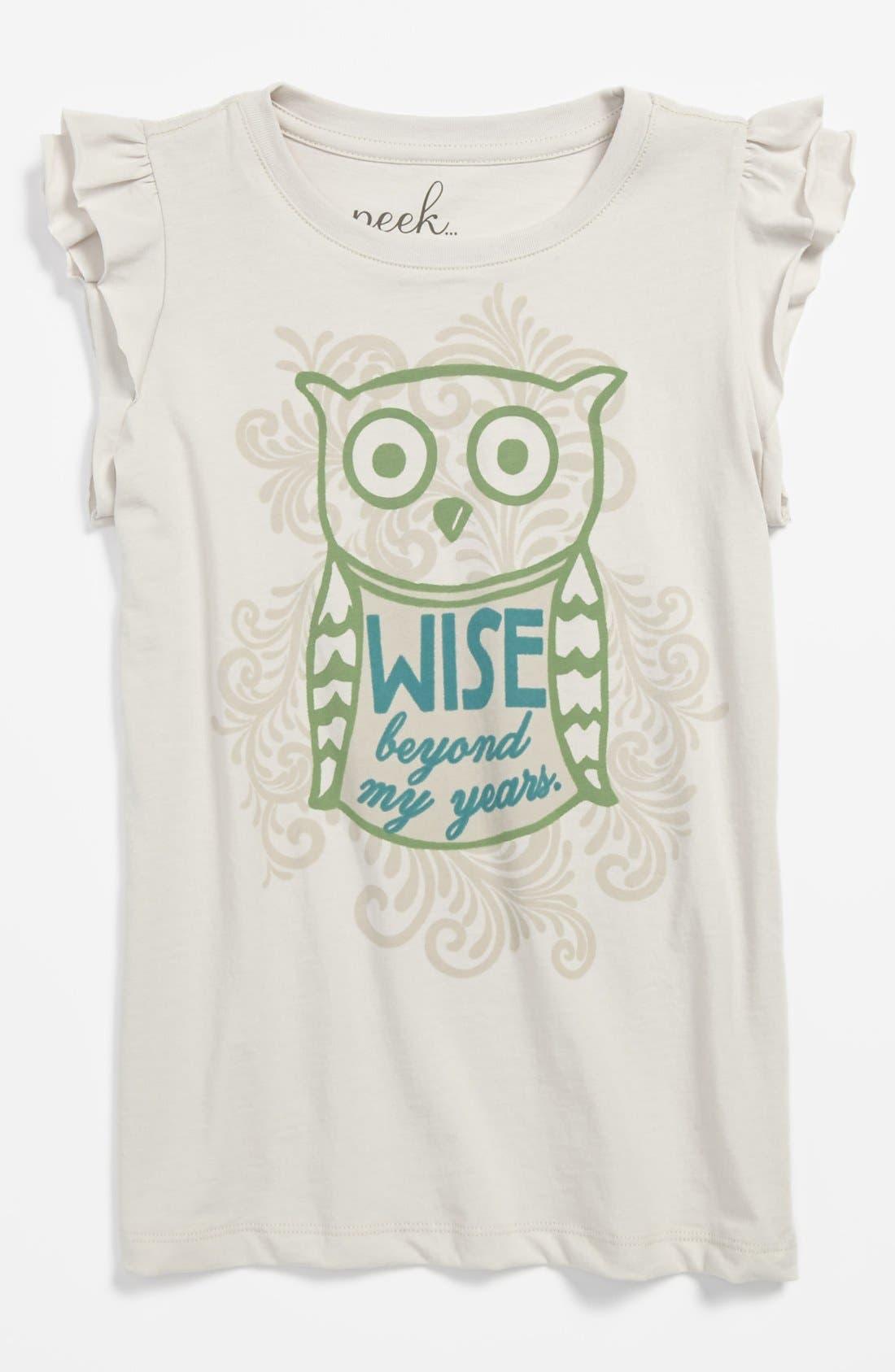 Alternate Image 1 Selected - Peek 'Be Wise' Tee (Toddler Girls, Little Girls & Big Girls)