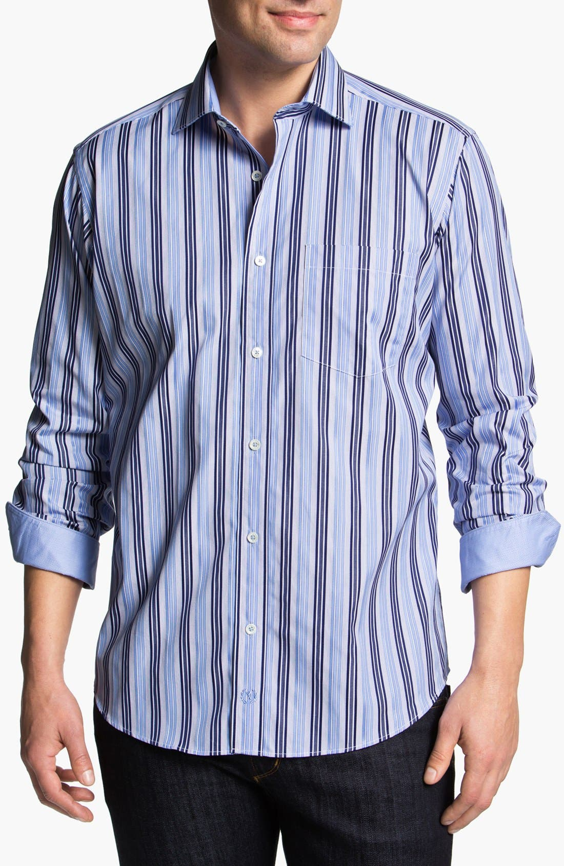 Alternate Image 1 Selected - Bugatchi Striped Classic Fit Cotton Sport Shirt