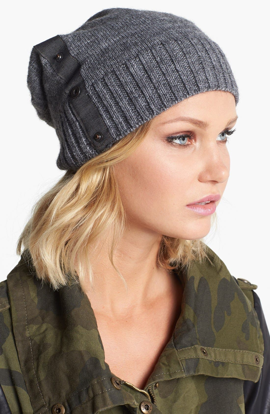 Alternate Image 1 Selected - Tarnish Snap Detail Slouchy Knit Beanie