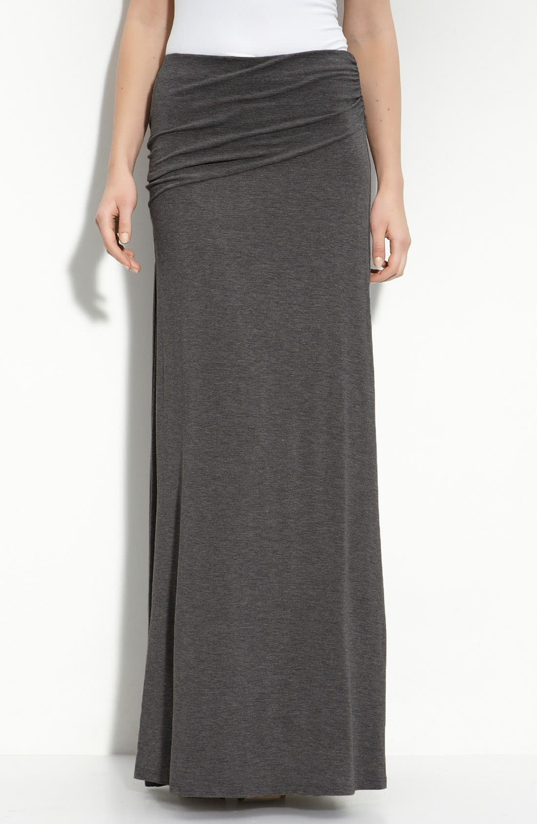 Alternate Image 1 Selected - Bobeau Asymmetric Knit Maxi Skirt (Regular & Petite)