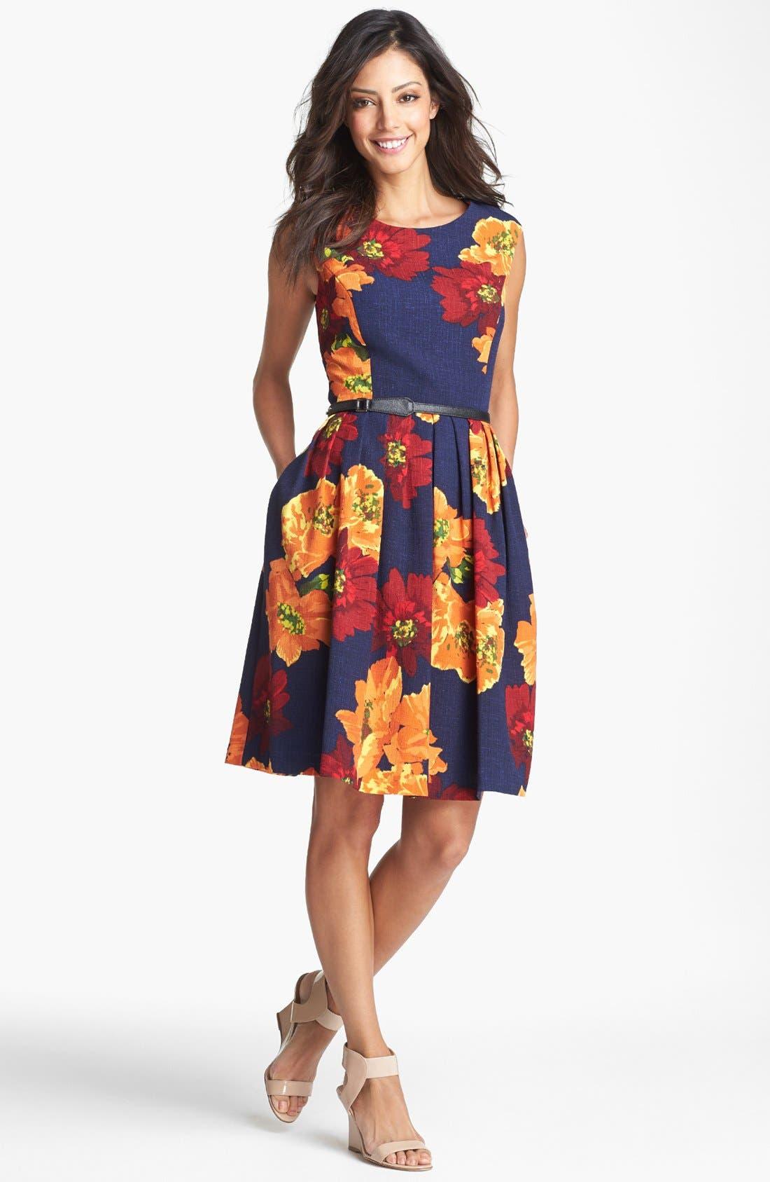 Alternate Image 1 Selected - Ellen Tracy Print Sleeveless Fit & Flare Dress
