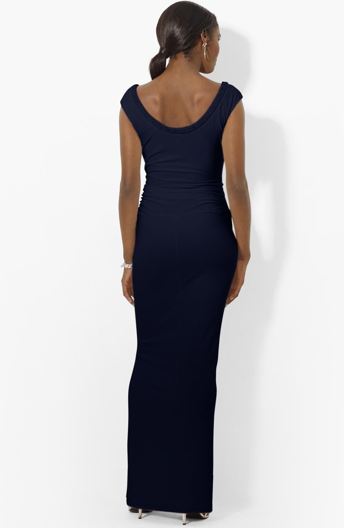 Alternate Image 2  - Lauren Ralph Lauren Beaded Scoop Neck Matte Jersey Gown