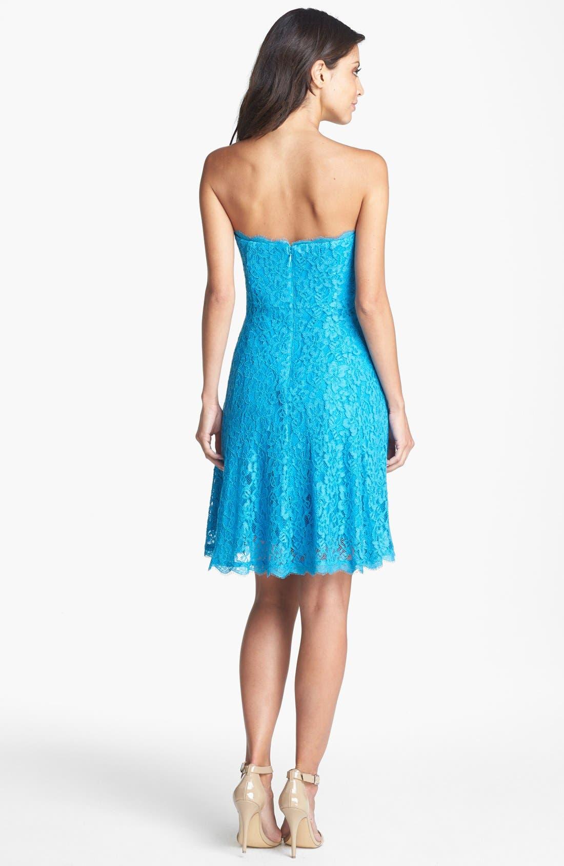 Alternate Image 2  - Adrianna Papell Strapless Lace Dress (Regular & Petite)