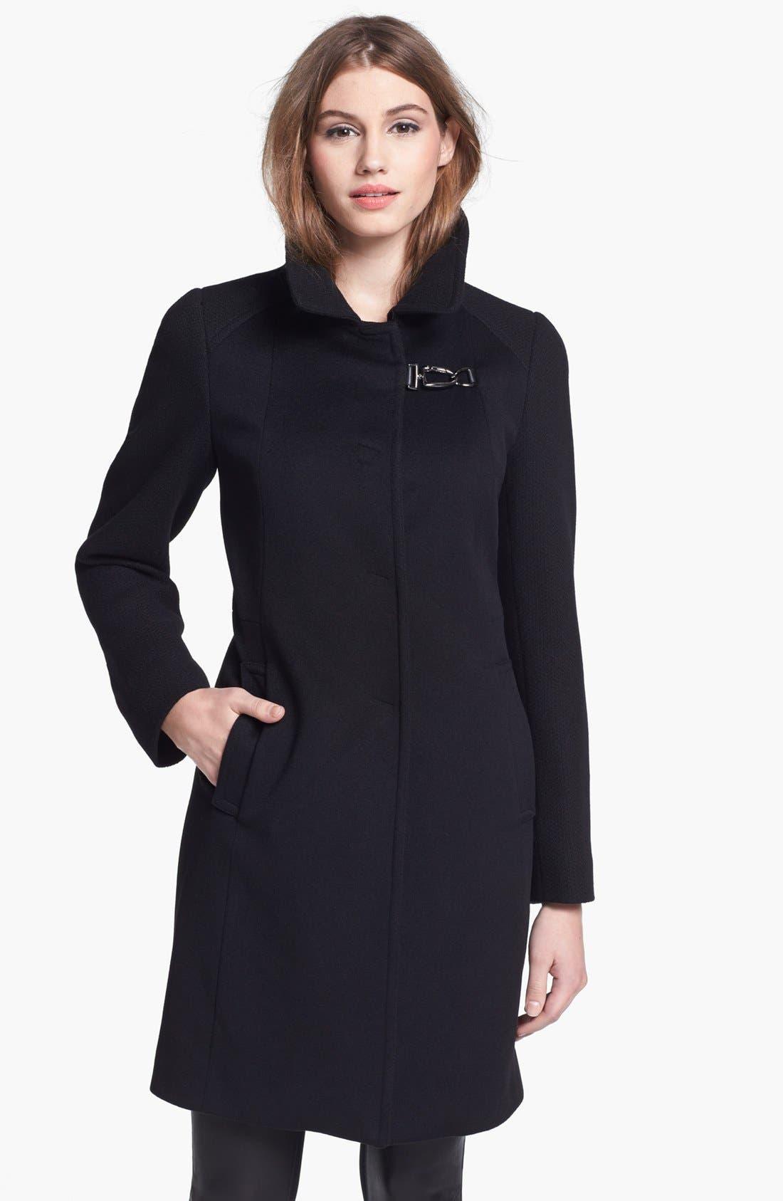 Main Image - Cinzia Rocca Clip Front Wool Walking Coat (Petite)
