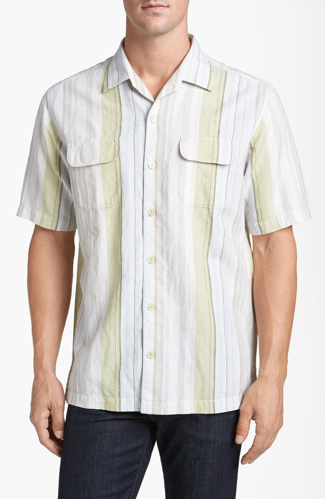 Main Image - Tommy Bahama 'Tide Garden' Linen Blend Campshirt