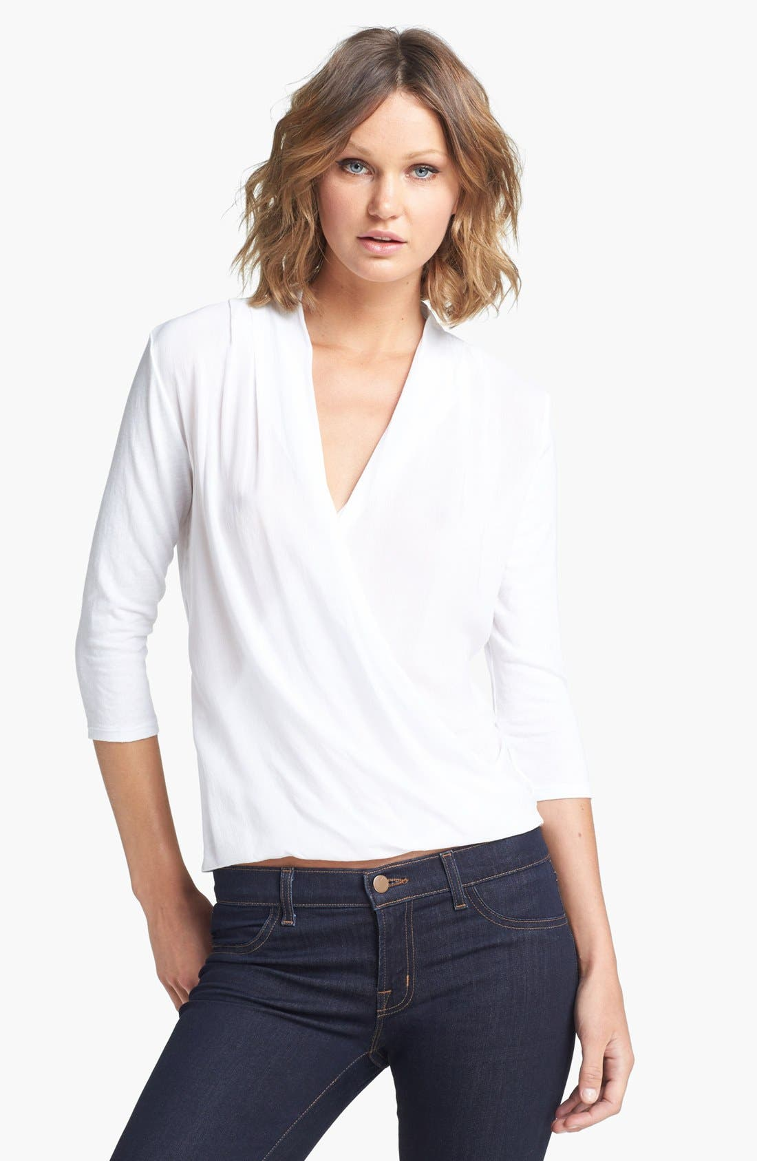 Alternate Image 1 Selected - James Perse Drape Front Blouse