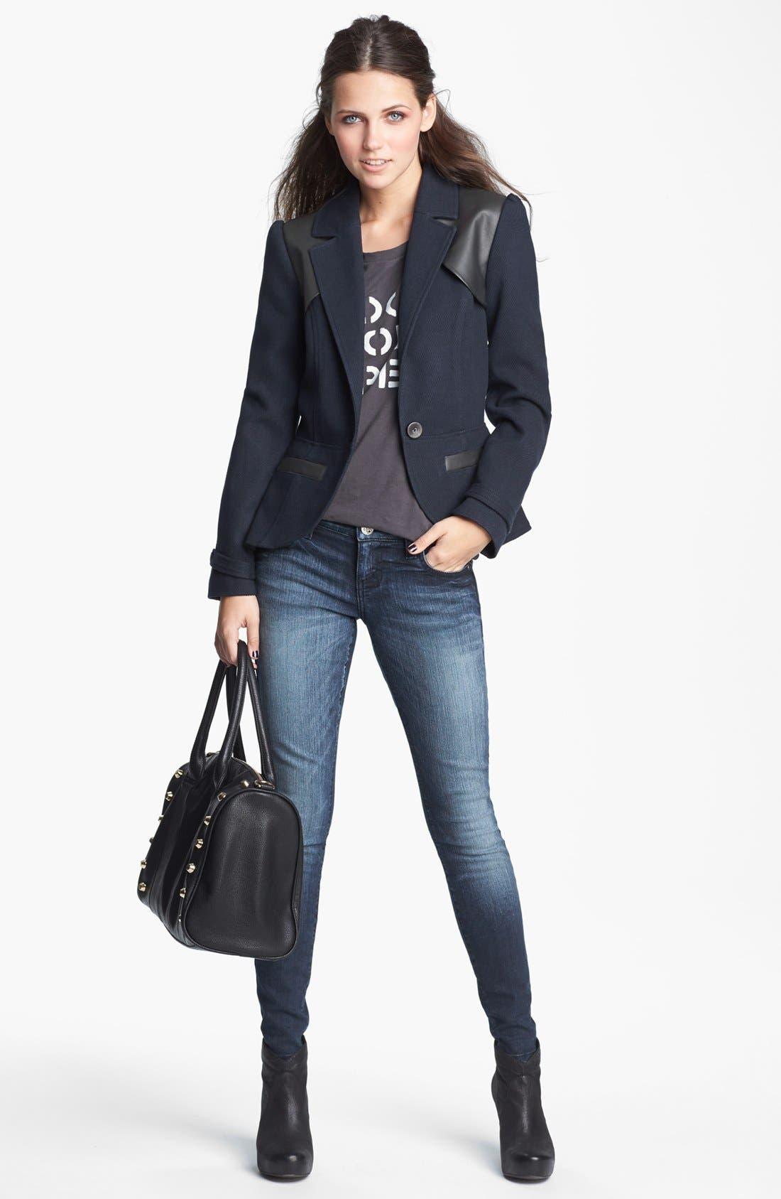 Alternate Image 2  - Tulle Faux Leather Yoke Jacket (Juniors) (Online Only)