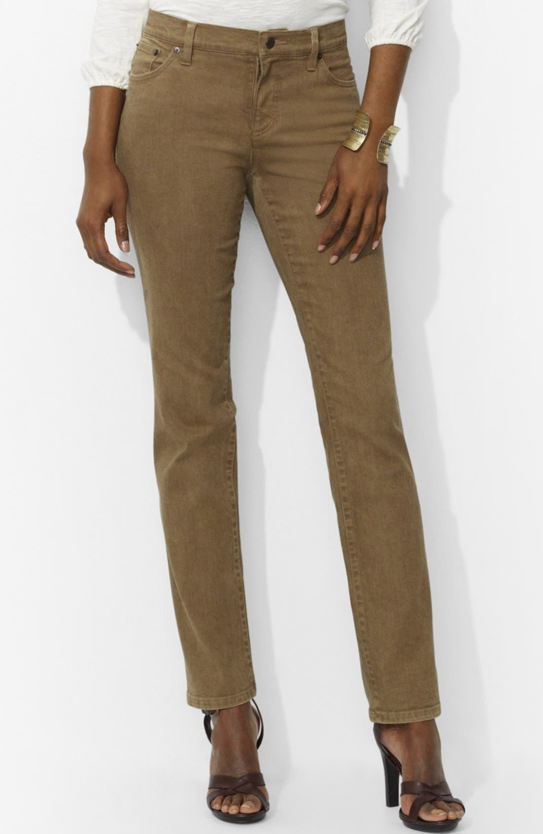 Main Image - Lauren Ralph Lauren Colored Slim Straight Leg Jeans (Petite)